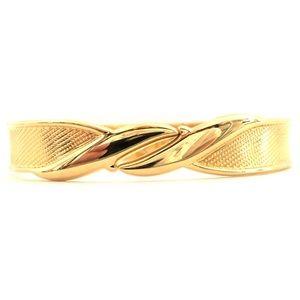 Vintage Monet Gold Tone Hinged Clamper Bracelet
